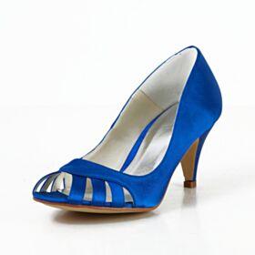Scarpe Sposa Blu Elettrico Sandali Con Tacco A Spillo 7 cm Tacco Medio Raso