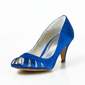 Stilettos Brautjungfer Schuhe Peeptoes Royalblau Cut Out Runde Zeh Hochzeitsschuhe