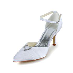 Spitz Zeh Knöchelriemen Weiß Stilettos Brautschuhe Stöckelschuhe Mit Strasssteine Elegante