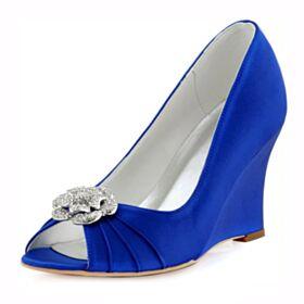Plissee Keilabsatz Brautjungfer Schuhe Elegante Peeptoes Satin Runde Zeh Mit Strasssteine Royalblau Brautschuhe
