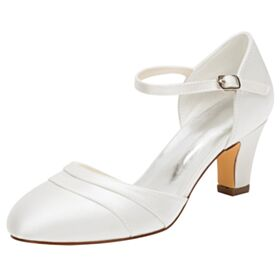 Womens Sandals Bridesmaid Shoes With Ankle Strap Ivory Wedding Shoes 6 cm Mid Heel