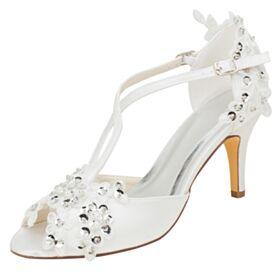 Perlen Stilettos Peeptoes Applikationen 8 cm High Heel Runde Zeh Satin Sandalen Ivory Hochzeitsschuhe Elegante
