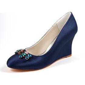 Compensées Escarpins Bleu Marine Élégant Talon Haut Chaussure De Mariée