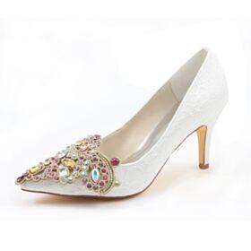 Luxe Met Steentjes Kristal Elegante 8 cm High Heel Pumps Creme Stiletto Satijnen Trouwschoenen