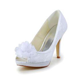 Stilettos Zapatos De Novia Punta Redonda Blancos Zapatos Mujer Encaje Peeptoes Tacon Alto