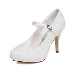 Bout Rond Talon Aiguille Blanche 10 cm Talons Hauts Satin Escarpins Élégant Chaussure De Mariée