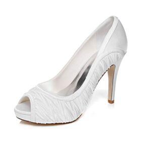 Brautschuhe Weiß Satin Plissee Peeptoes 10 cm High Heels Stilettos Elegante Sandaletten
