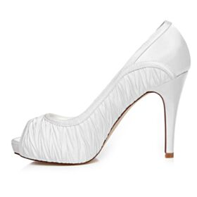 10 cm Tacon Alto Plisado Peeptoes Zapatos Para Novia Elegantes Blancos Stilettos Sandalias Zapatos Dama De Honor
