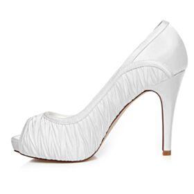Chaussure De Mariée Talons Hauts Chaussure Demoiselle D honneur Blanche Bout Ouvert Plissée Talon Aiguille Belle D été