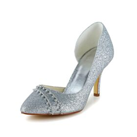Glitter Bridal Shoes Pointed Toe Sparkly 8 cm High Heel Pumps Dress Shoes