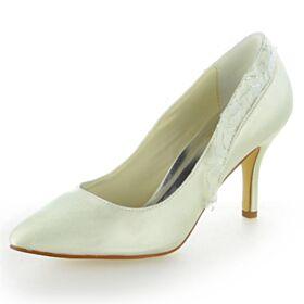 Brautjungfer Schuhe Mit 8 cm High Heels Brautschuhe Satin Stilettos Ivory Pumps Rüschen Elegante Spitz Zeh