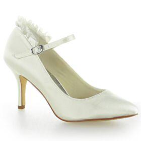 Brautschuhe Pumps Rüschen Stilettos Brautjungfer Schuhe Creme Satin Knöchelriemen 8 cm High Heels