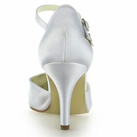 Knöchelriemen Sandaletten Elegante Weiß 8 cm High Heel Brautschuhe Stilettos Spitz Zeh Satin