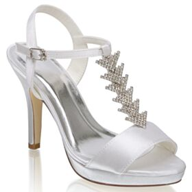 Peep Toe Elegant Bridesmaid Shoes 4 inch High Heel Ankle Strap Sandals Stiletto With Rhinestones Bridal Shoes
