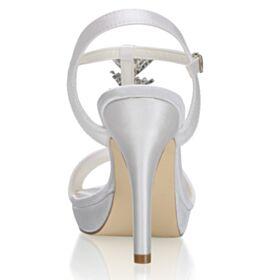 Con Tacco A Spillo Cinturino Alla Caviglia Di Raso Con Strass Spuntate Tacco Alto Eleganti Scarpe Matrimonio Sandali Avorio