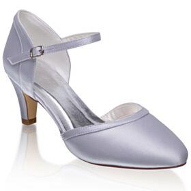 Argento Tacchi A Spillo Con Tacco Medio A Punta Sandali Cinturino Alla Caviglia Scarpe Sposa Raso Eleganti