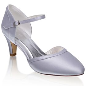 Chaussure Mariée Élégant Bride Cheville Talon Mid Bout Pointu Talons Aiguilles