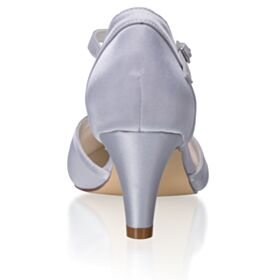 Satin Pointed Toe Silver Bridesmaid Shoes Bridal Shoes Ankle Strap 6 cm Mid Heel Sandals