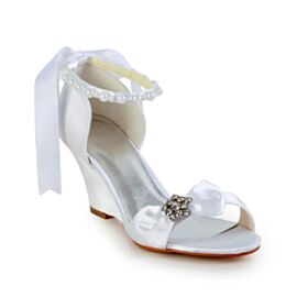 Wedges Round Toe Bridals Wedding Shoes White Pearl Sandals Rhinestones 7 cm Mid Heels