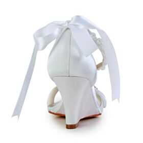 Met Steentjes Elegante Satijnen 7 cm Heel Wedges Bruidsschoenen Enkelband Met Strik Parel Sandalen Dames