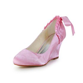 Ruffle Pumps Light Pink 7 cm Mid Heels Round Toe Bridals Wedding Shoes Bridesmaid Shoes Wedges