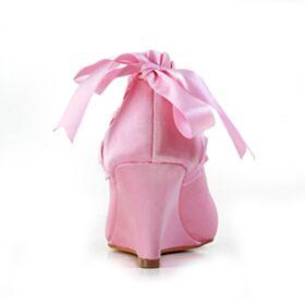 Rüschen Stöckelschuhe Schönes Satin Brautjungfer Schuhe Pink Mit Schleife Brautschuhe Keilabsatz