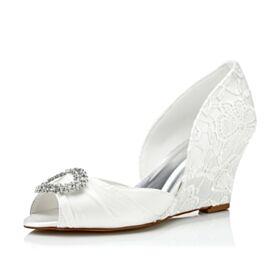 Color Marfil Punta Redonda Zapatos Para Novia De Cuña Tacon Medio Encaje Peep Toe Sandalias
