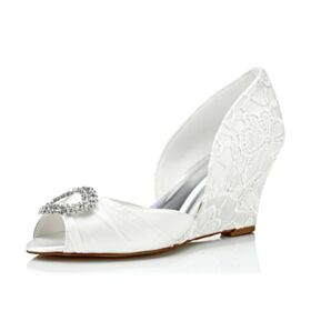 Keilabsatz Spitzen Elegante Brautjungfer Schuhe Mit Strasssteine Brautschuhe Sandalen Creme Satin Peeptoes