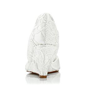 Ivory Wedges Kanten Peep Toe 7 cm Heels Trouwschoenen Sandalen Elegante D orsay