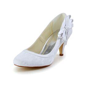 Escarpins Femmes Satin Tulle Blanche Talon Aiguille Chaussure Mariée Bout Rond Chaussure Demoiselle D honneur