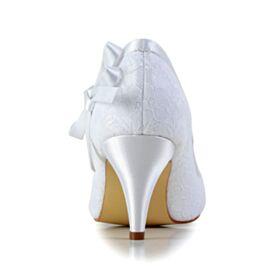 Stilettos White Pumps Dress Shoes 7 cm Heeled Satin Bridesmaid Shoes Bridals Wedding Shoes