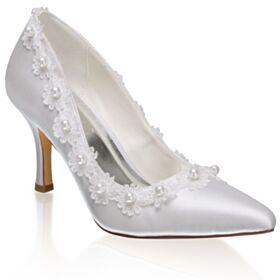 Pumps Elegante Satin Spitz Zeh Brautschuhe Weiß Stilettos Brautjungfer Schuhe