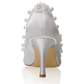 Talon Aiguille Blanche Avec Perle Chaussure Demoiselle D honneur 8 cm Talon Haut Élégant Chaussure Mariage Escarpins