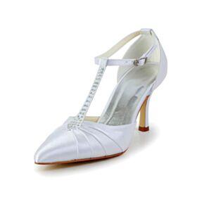 Spitz Zeh Plissee Brautschuhe Stilettos Weiß Satin Knöchelriemen D orsay Elegante