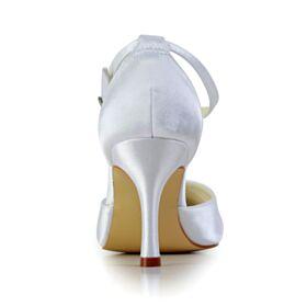 Blanco Elegantes Stiletto De Satin Sandalias Mujer Plisado Zapatos De Boda 8 cm Tacon Alto