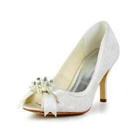 Satin Ivoire Avec Perle Talons Aiguilles Chaussure De Mariée Élégant Avec Noeud 8 cm Talons Hauts Bout Rond Tulle