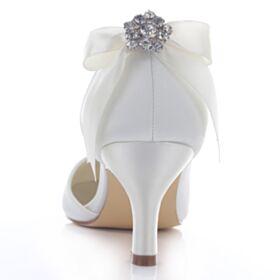 Con Lazo Zapatos Mujer Tacon Medio Stilettos Elegantes Con Strass Color Marfil