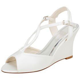 8 cm High Heel Elegante Peeptoes Brautschuhe Brautjungfer Schuhe Keilabsatz Creme Runde Zeh Riemchensandaletten Sandaletten