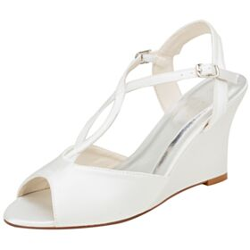 Wedges Bridesmaid Shoes Strappy Satin 8 cm High Heel Peep Toe Womens Sandals Elegant Wedding Shoes