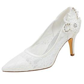 Satin Brautjungfer Schuhe Brautschuhe Stilettos Spitzen Applikationen Ivory Mit 8 cm Absatz Pumps Spitz Zeh