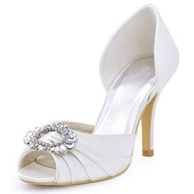 ハイヒール サンダル プリーツ オープン トゥ ホワイト サテン クリスタル ハイヒール ラウンド トゥ 結婚式 靴 6021200350F