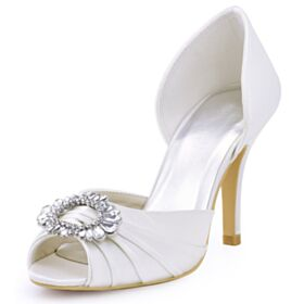 Bridesmaid Shoes Summer Peep Toe Beautiful Stiletto Round Toe White Pleated 3 inch High Heel Sandals
