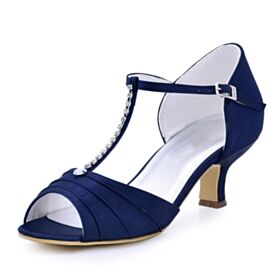 6 cm Heel Open Toe Beautiful Pleated Bridal Shoes Bridesmaid Shoes Satin Rhinestones Navy Blue Ankle Strap Sandals