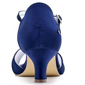 Spuntate Plissettata Lacci Caviglia In Raso Tacchi A Spillo Blu Cobalto Sandali Con Strass Tacco Medio Eleganti