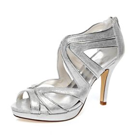 Sparkly Elegant Cute Out Open Toe Bridals Wedding Shoes Sandals 4 inch High Heel Silver Strappy Glitter Stilettos
