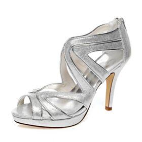 Tacco A Spillo Con Tacco Alto Spuntate Argento Estivi Con Lacci Scarpe Da Sposa Glitter Sandali