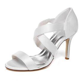 Brautjungfer Schuhe Weiß Elegante Mit 10 cm High Heel Brautschuhe Sandaletten Damen Runde Zeh Satin