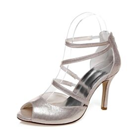 Bridals Wedding Shoes 10 cm High Heel Stilettos Elegant Bridesmaid Shoes Peep Toe Strappy Glitter Champagne Sandals