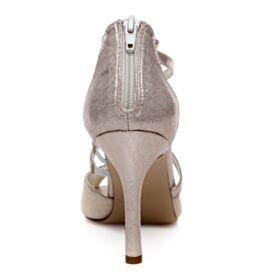 Sandalias Mujer Zapatos De Novia Stiletto Color Champagne Tiras Peep Toe Elegantes Tacon Alto