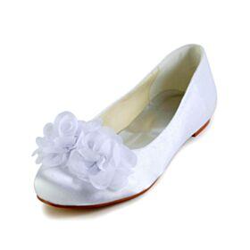 Punta Redonda De Satin Zapatos Para Novia Blancos Planas Zapatos Elegantes
